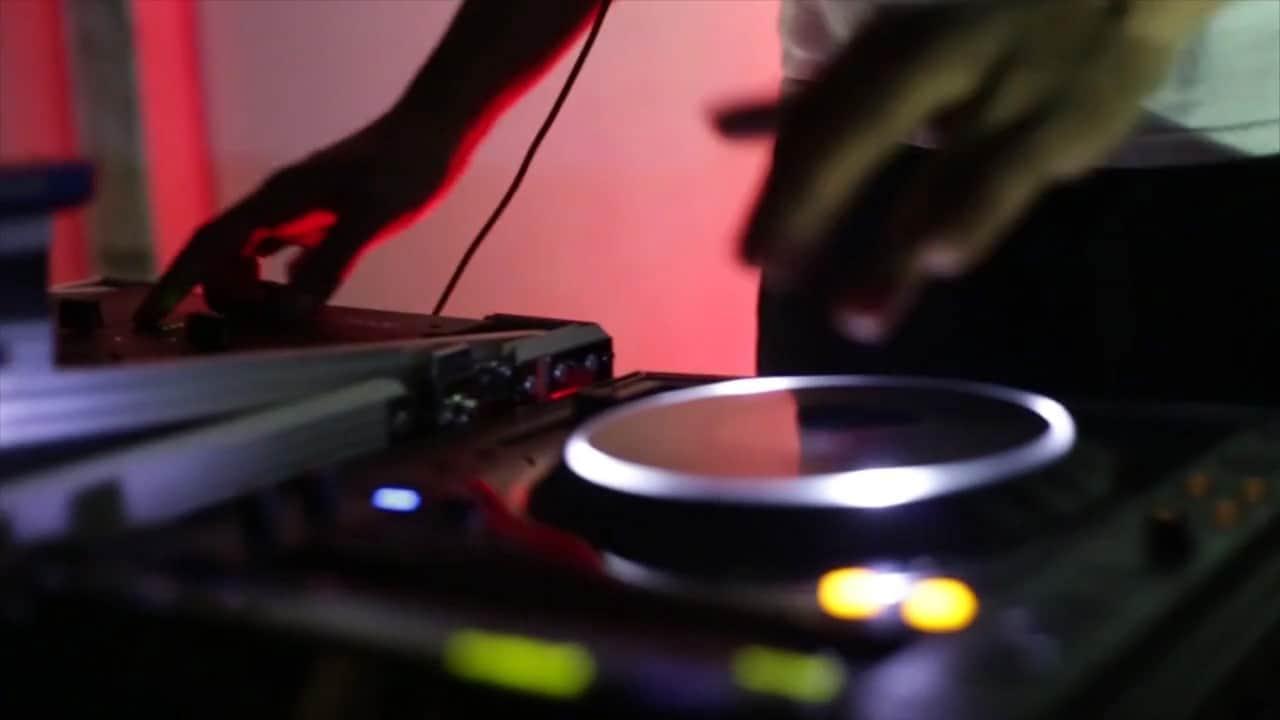 A dj mixing music